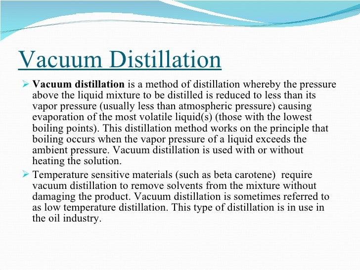 application of using simple distillation