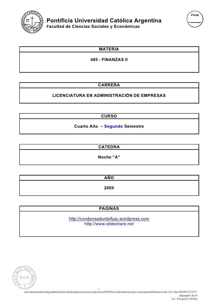 Pontificia Universidad Católica Argentina                  Facultad de Ciencias Sociales y Económicas                     ...