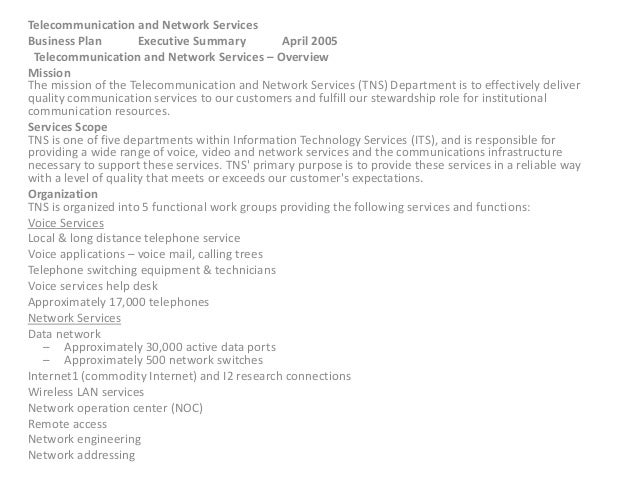 Telecommunication and Network Services Business Plan Executive Summary April 2005 Telecommunication and Network Services –...