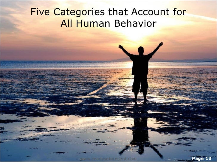 Five Categories that Account for      All Human Behavior          www.readysetpresent.com   Page 13