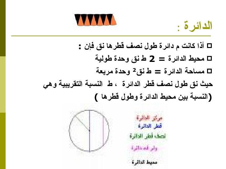 الدائرة   : <ul><li>أذا كانت م دائرة طول نصف قطرها نق فإن  : </li></ul><ul><li>محيط الدائرة  =  2   ط نق وحدة طولية  </li>...