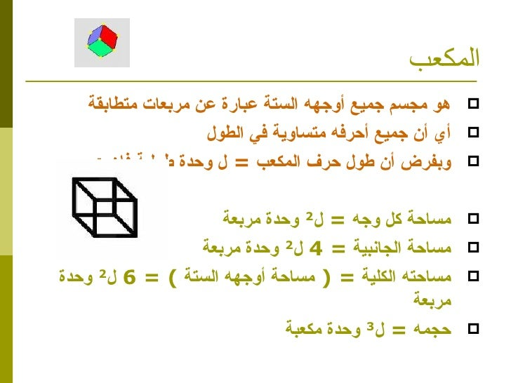 المكعب <ul><li>هو مجسم جميع أوجهه الستة عبارة عن مربعات متطابقة </li></ul><ul><li>أي أن جميع أحرفه متساوية في الطول </li><...