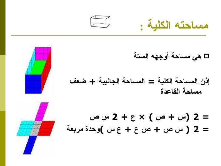 مساحته الكلية  : <ul><li>هي مساحة أوجهه الستة  </li></ul><ul><li>إذن المساحة الكلية  =  المساحة الجانبية  +  ضعف مساحة الق...