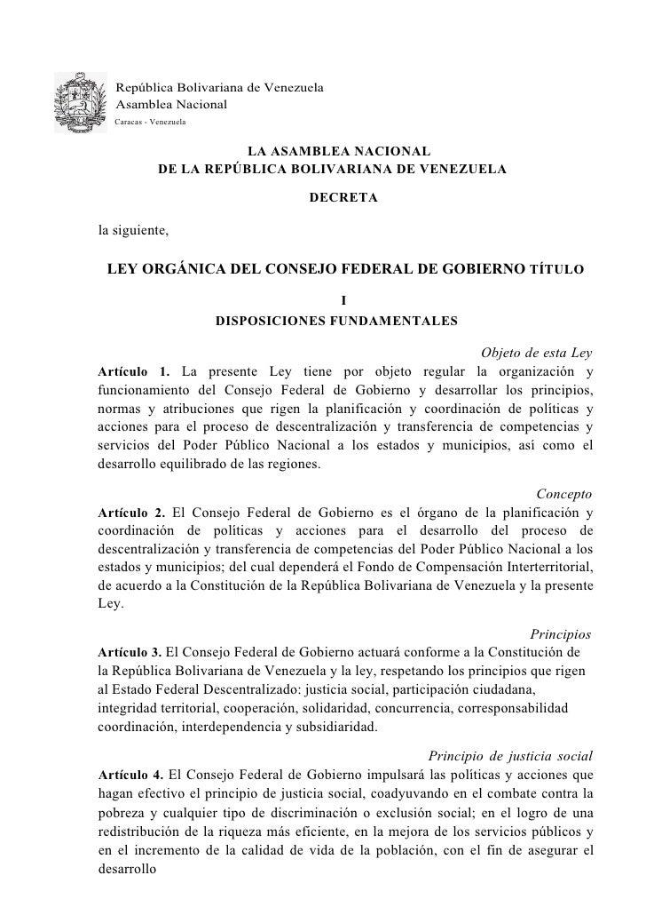 República Bolivariana de Venezuela    Asamblea Nacional    Caracas - Venezuela                            LA ASAMBLEA NACI...