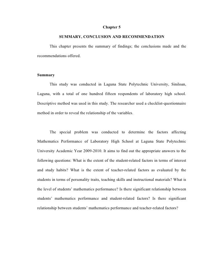 Chapter 5               SUMMARY, CONCLUSION AND RECOMMENDATION         This chapter presents the summary of findings; the ...