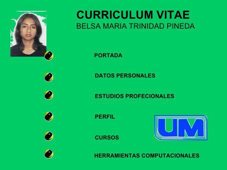 PORTADA DATOS PERSONALES ESTUDIOS PROFECIONALES PERFIL CURSOS CURRICULUM VITAE BELSA MARIA TRINIDAD PINEDA HERRAMIENTAS CO...