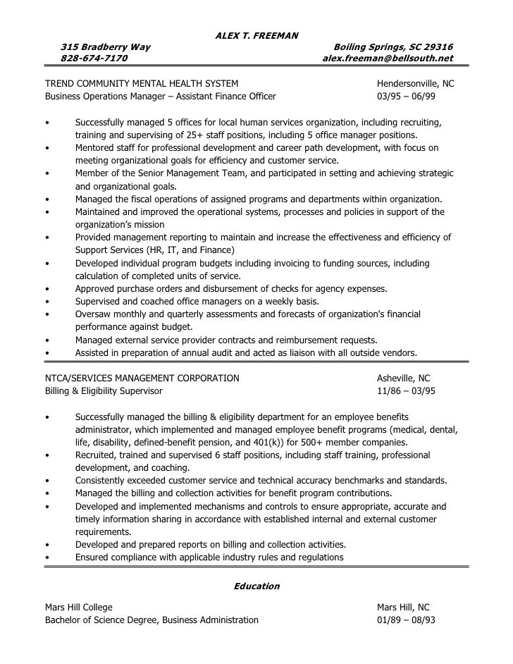resume of alex freeman operations manager administrative manager s - Business Operation Manager Resume