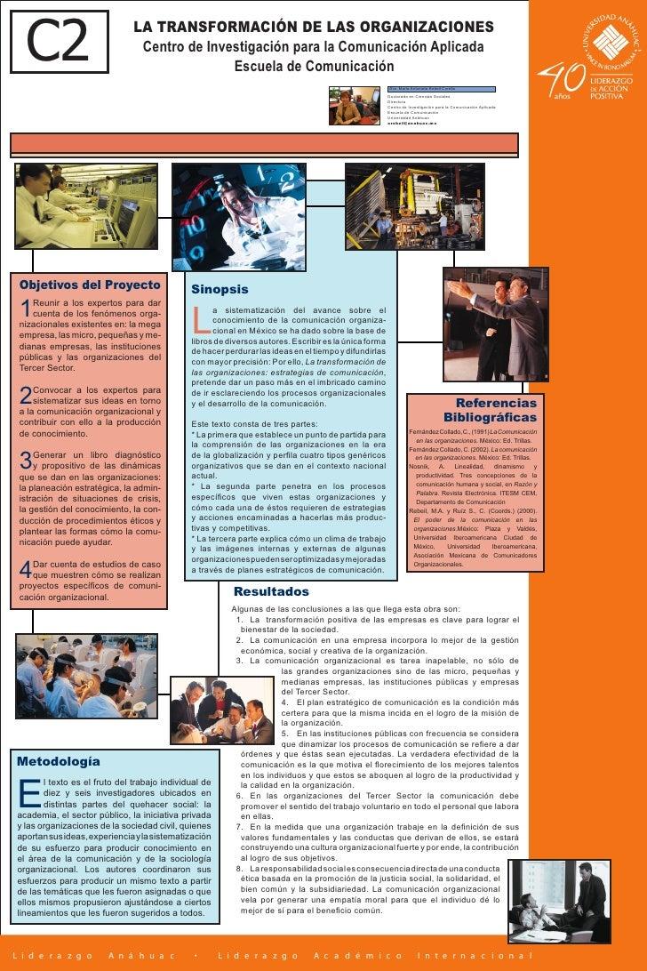 C2                           LA TRANSFORMACIÓN DE LAS ORGANIZACIONES                                 Centro de Investigaci...