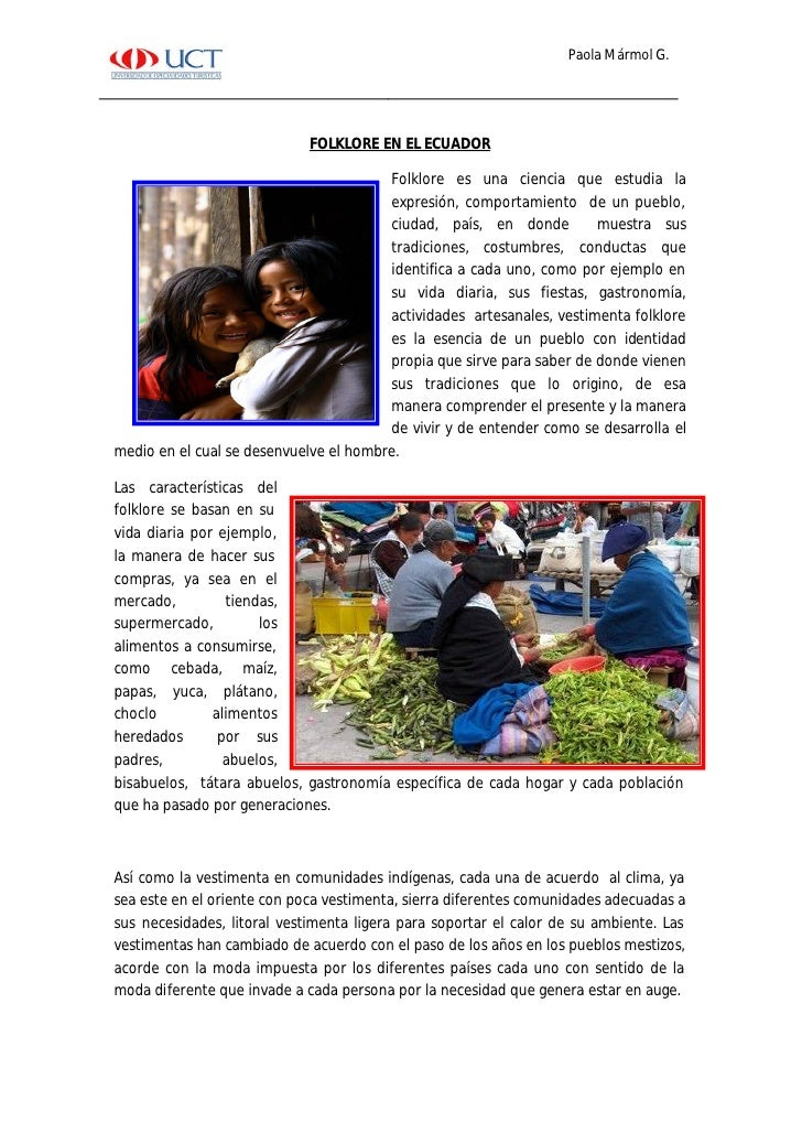 Paola Mármol G.                                  FOLKLORE EN EL ECUADOR                                          Folklore ...