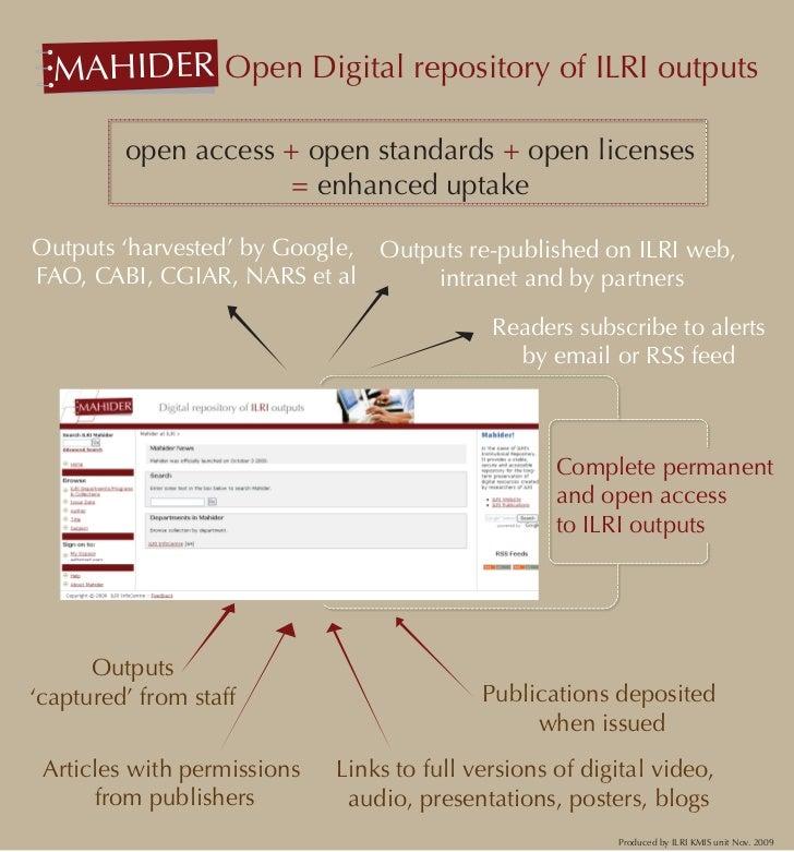 MAHIDER Open Digital repository of ILRI outputs   'Mahider' –           open access + open standards + open licenses      ...