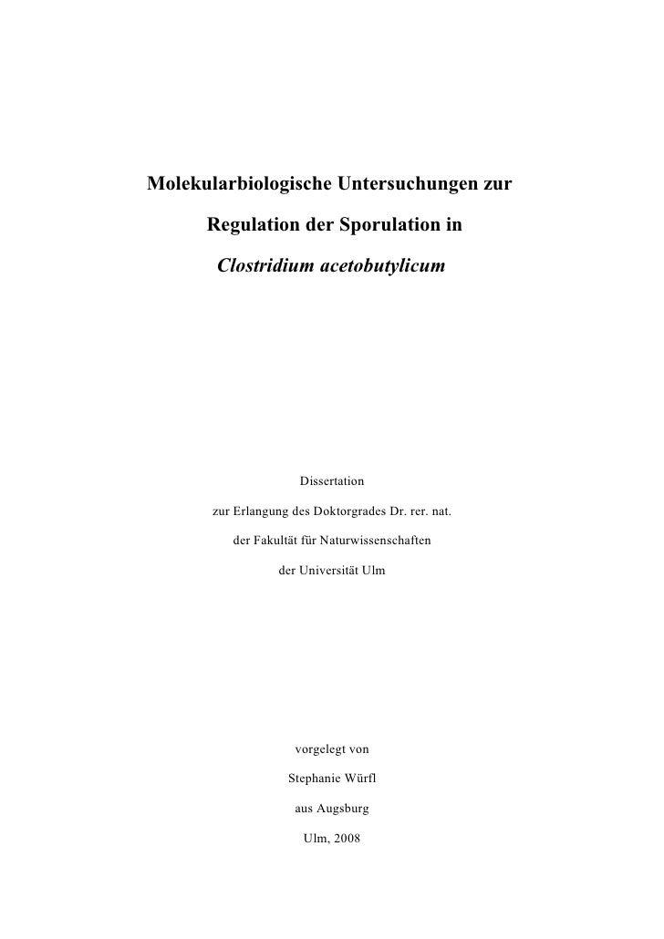 Molekularbiologische Untersuchungen zur        Regulation der Sporulation in         Clostridium acetobutylicum           ...