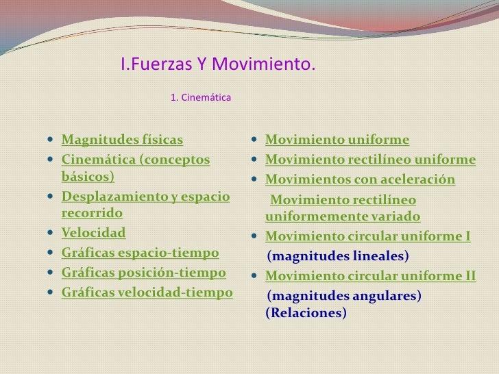 I.Fuerzas Y Movimiento.                    1. Cinemática    Magnitudes físicas                Movimiento uniforme  Cine...