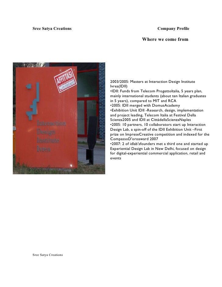 Sree Satya Creations                               Company Profile                                           Where we come...