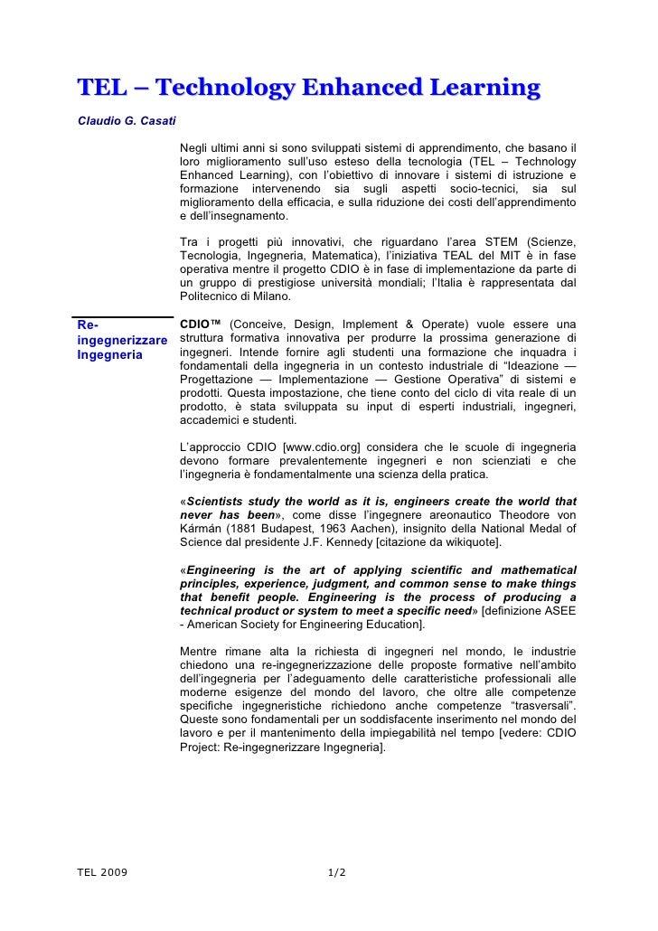TEL – Technology Enhanced Learning Claudio G. Casati                      Negli ultimi anni si sono sviluppati sistemi di ...