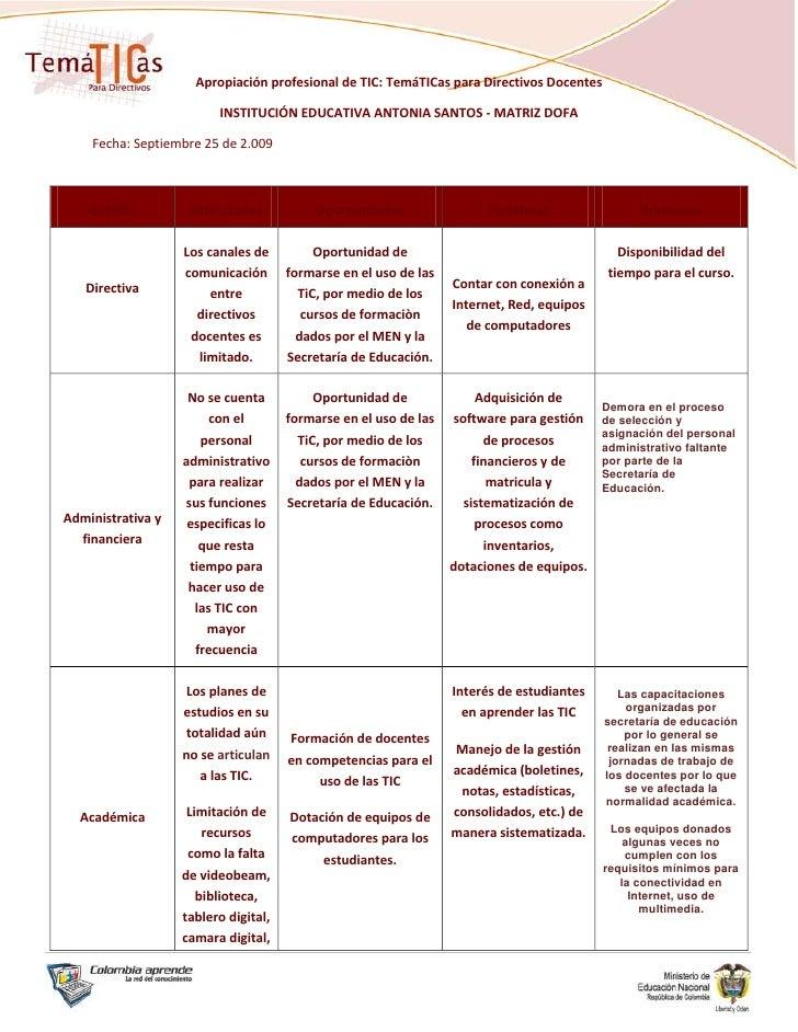 Apropiación profesional de TIC: TemáTICas para Directivos Docentes<br />INSTITUCIÓN EDUCATIVA ANTONIA SANTOS - MATRIZ DOFA...