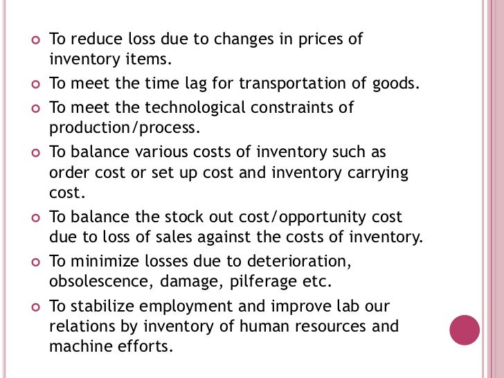 Quick Notes on Inventory Control | Cost Accounting