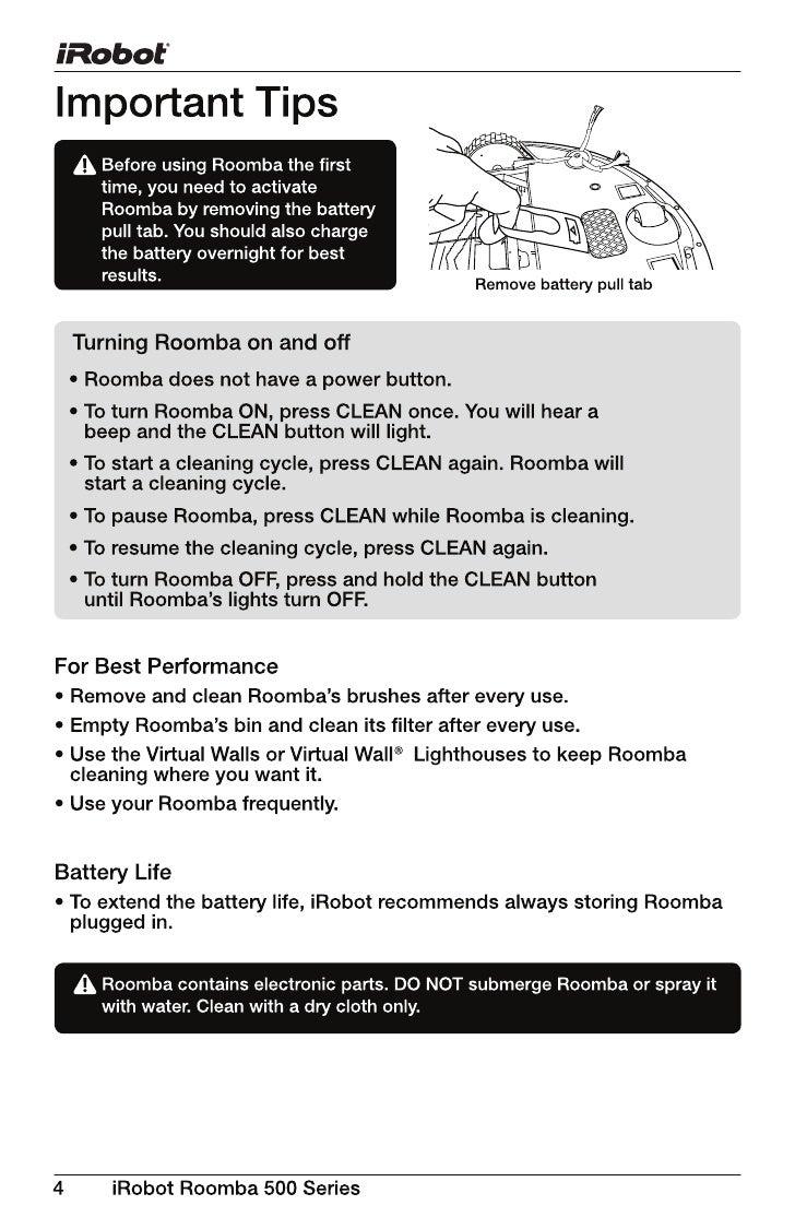 C:\Documents And Settings\Czhang\Desktop\Roomba 500 Series Manual