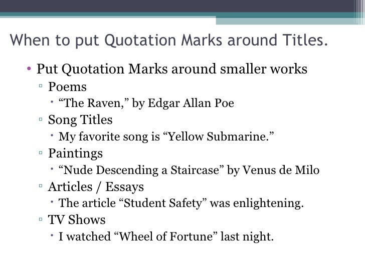 are movies italicized in essays 2) long works and collections of short works are usually put in italics (or underlined when submitting publication work to editors) 3) title of an essay title of a collection or anthology of essays ex: the fiction of langston hughes ex: modern writers and their readers 4) title of a short song title of a cd, cassette,.