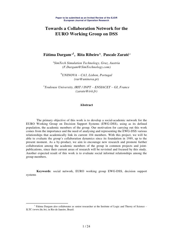 Paper to be submitted as an Invited Review of the EJOR                                     European Journal of Operation R...