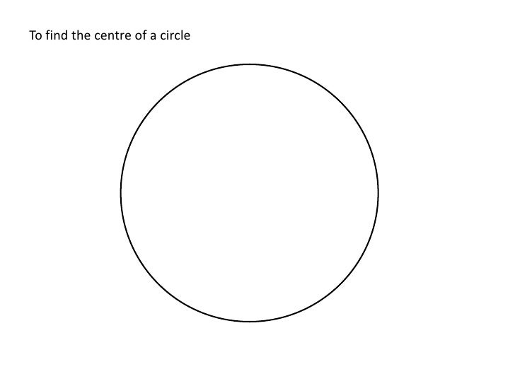 Locating the centre of a circle