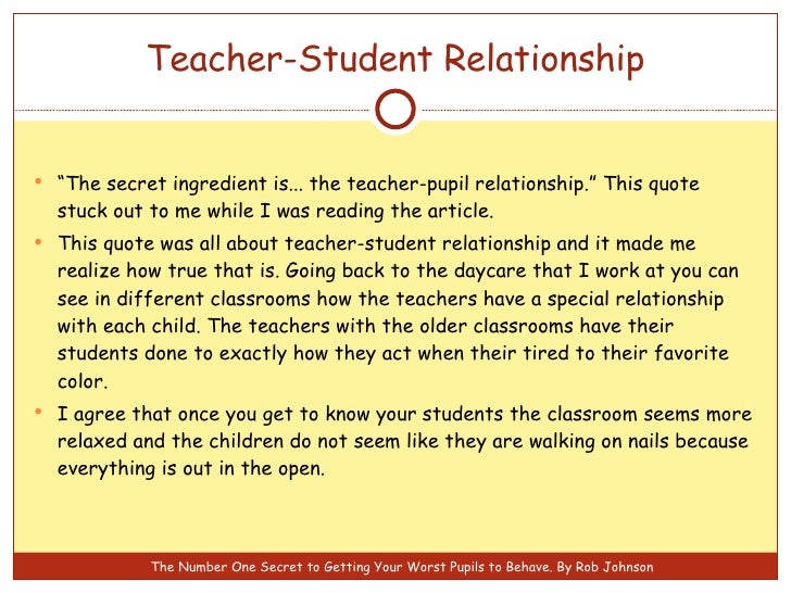 teacher immediacy and the student relationship