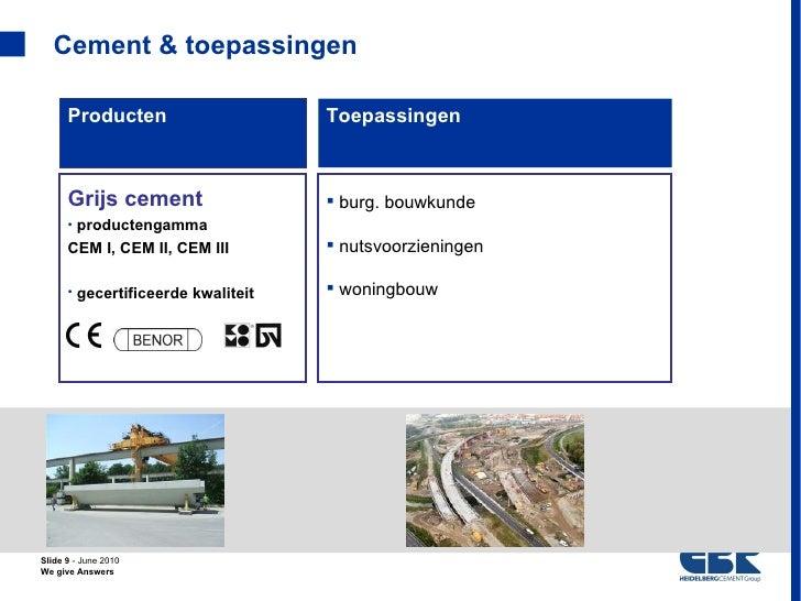 Cement & toepassingen      Producten                     Toepassingen      Grijs cement                   burg. bouwkunde...