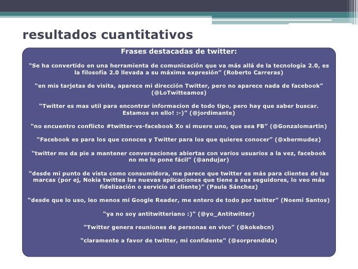 """resultados cuantitativos                              Frases destacadas de twitter: """"Se ha convertido en una herramienta d..."""