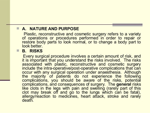 Informed Consent Form For Plastic Surgery
