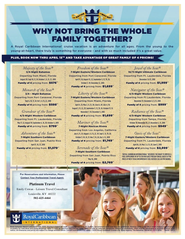 WHY NOT BRING THE WHOLE                                 FAMILY TOGETHER? A Royal Caribbean International® cruise vacation ...