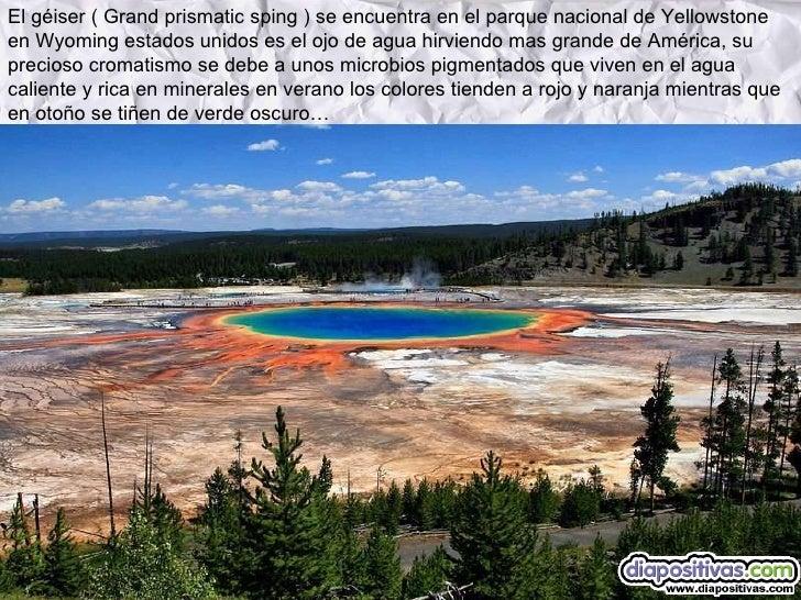 El géiser ( Grand prismatic sping ) se encuentra en el parque nacional de Yellowstone en Wyoming estados unidos es el ojo ...