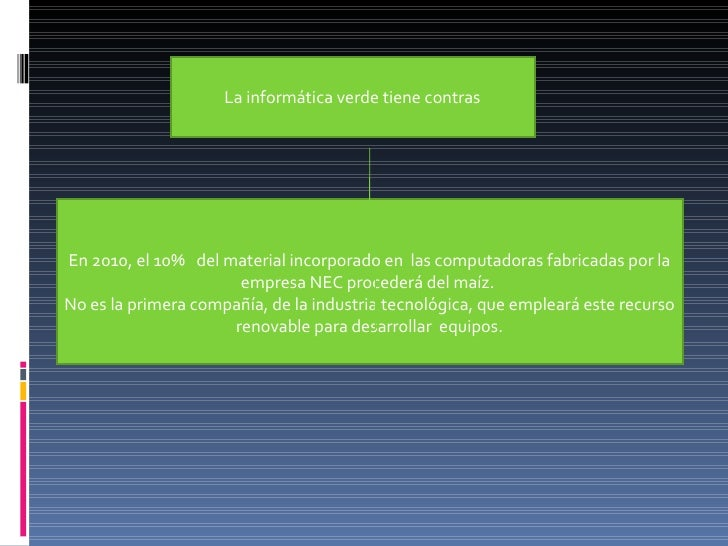 La informática verde tiene contras En 2010, el 10% del material incorporado en las computadoras fabricadas por la empre...