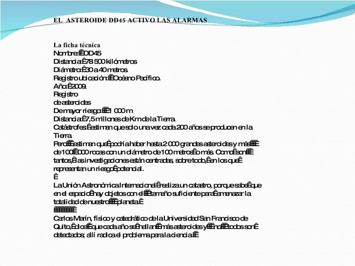 EL ASTEROIDE DD45 ACTIVO LAS ALARMAS   La ficha técnica No b :DD4    m re        5 Dis nc : 5 0kiló e s     ta ia 78 0 ...