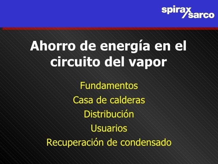 Ahorro de energía en el   circuito del vapor          Fundamentos        Casa de calderas           Distribución          ...