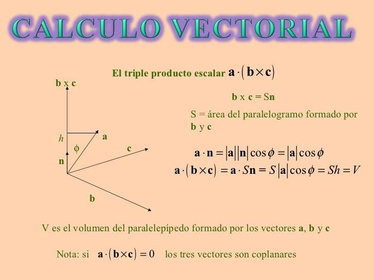 b c a b  x  c  n b  x  c =  S n S = área del paralelogramo formado por  b  y  c h V es el volumen del paralelepípedo form...