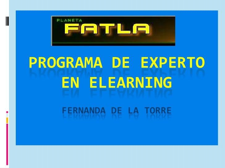 programa de experto en ElearningFERNANDA DE LA TORRE<br />