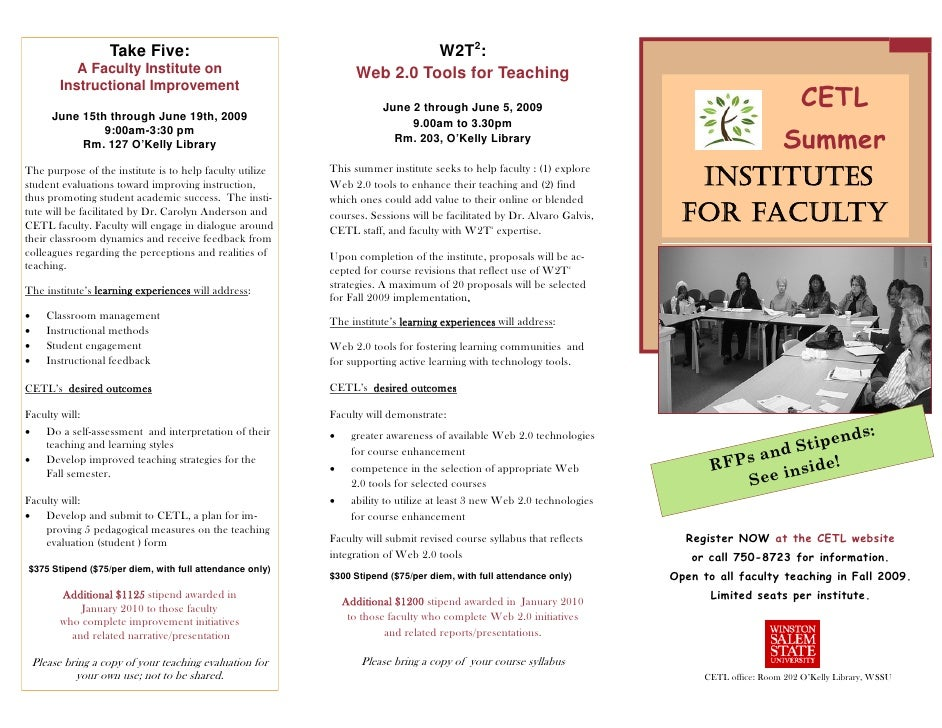 W2T2:                     Take Five:              A Faculty Institute on                             Web 2.0 Tools for Tea...