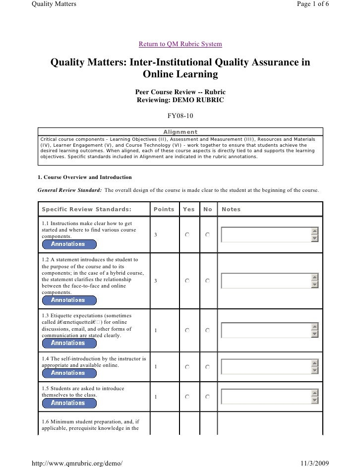 Quality Matters                                                                                              Page 1 of 6  ...