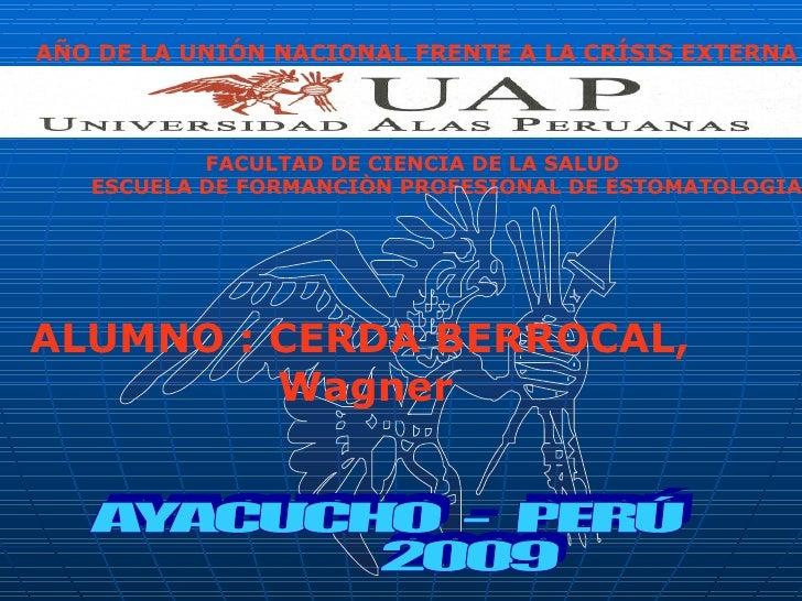 AÑO DE LA UNIÓN NACIONAL FRENTE A LA CRÍSIS EXTERNA               FACULTAD DE CIENCIA DE LA SALUD    ESCUELA DE FORMANCIÒN...