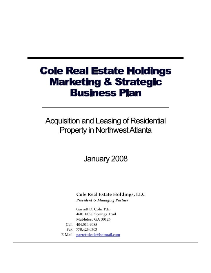 Cole Real Estate Holdings Marketing U0026 Strategic Business Plan Acquisition  And Leasing Of Residential ...