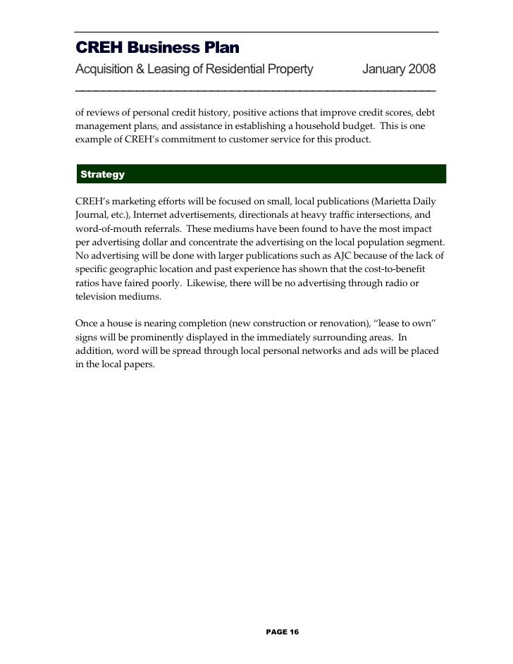 Business plan form page 15 17 creh business plan accmission Choice Image