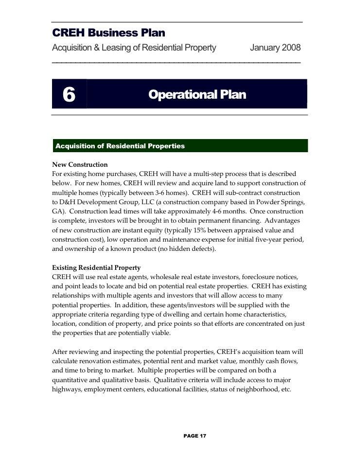 real estate rental business plan