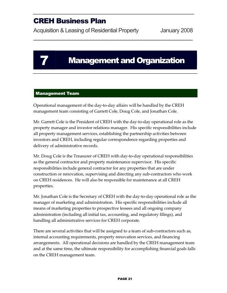 Proeprty management business plan