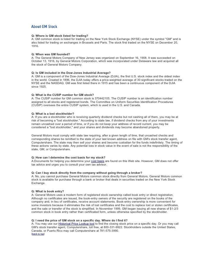 Gmstock Informationstockholder Faqs