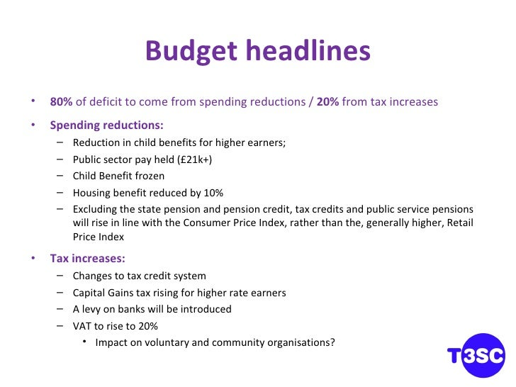 Budget headlines <ul><li>80%  of deficit to come from spending reductions /  20%  from tax increases </li></ul><ul><li>Spe...