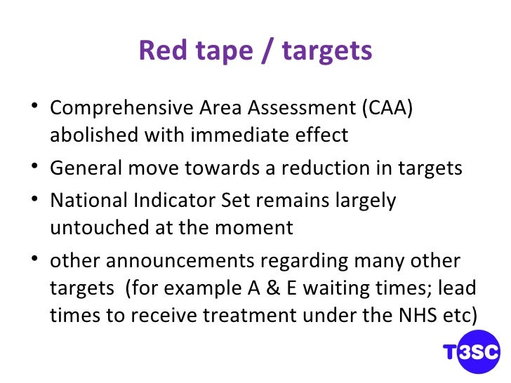Red tape / targets <ul><li>Comprehensive Area Assessment (CAA) abolished with immediate effect </li></ul><ul><li>General m...