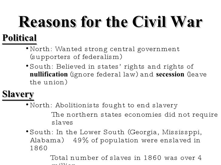 Reasons/Results of the Civil War