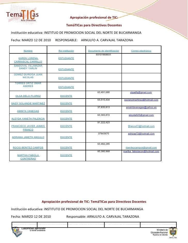 Apropiación profesional de TIC:                                         TemáTICas para Directivos Docentes  Institución ed...