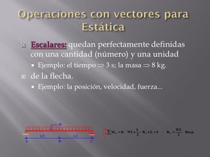    Escalares: quedan perfectamente definidas     con una cantidad (número) y una unidad        Ejemplo: el tiempo     3 ...