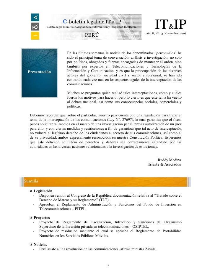 e-boletín legal de IT & IP             Boletín legal sobre Tecnologías de la Información y Propiedad Intelectual         I...