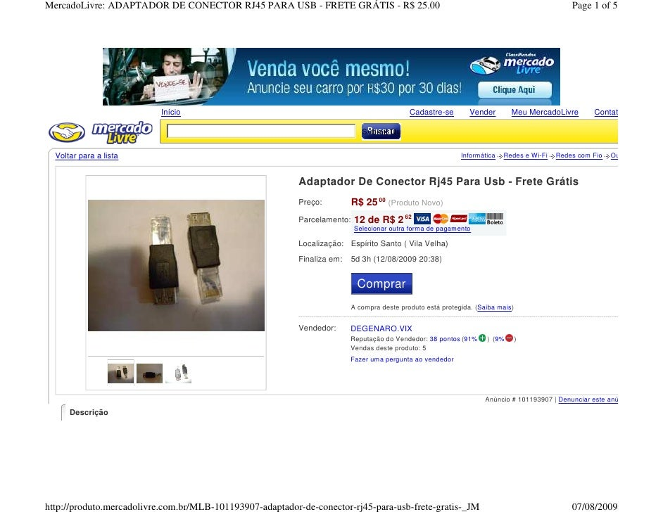 MercadoLivre: ADAPTADOR DE CONECTOR RJ45 PARA USB - FRETE GRÁTIS - R$ 25.00                                               ...